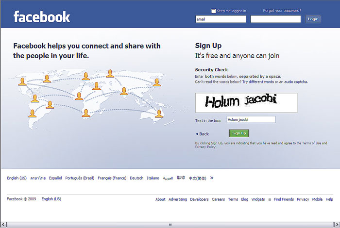 ce este social media - pagina sign-up facebook in 2009